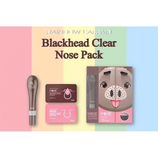KOREA Rainbow Nose Blackhead Clear Pack (10 x Heating Sheet + 30ml Mask + 10 x Moisturise Sheet)  - 75% Discount